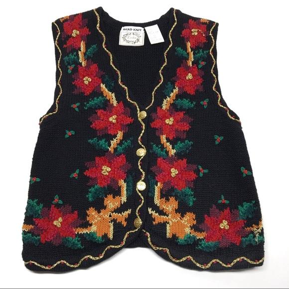 Vintage Christmas Sweaters.Vintage Christmas Sweater Vest Poinsettia Crdi